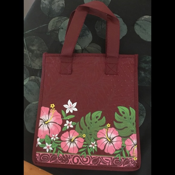 Hawaii Handbags - Hawaiian tropical print collapsible insulated bag